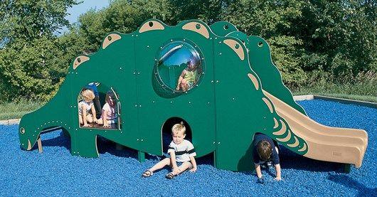 Dino Climber - Independent Dinosaur Shaped Tunnel, Ladder, Climber & Slide - Landscape Structures