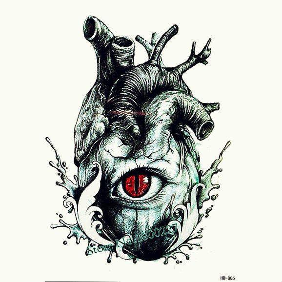Переводная татуировка Анатомическое сердце - 200 руб, флеш тату, временная тату, наклейки на тело