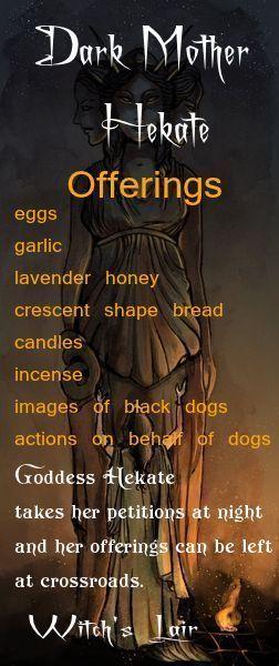 Hekate - Pinned by The Mystic's Emporium on Etsy huevos,  ajo, lavanda,  miel,  pan con forma creciente,  vela,  incienso,  imagenes de perros negros, acciones por parte de perros.