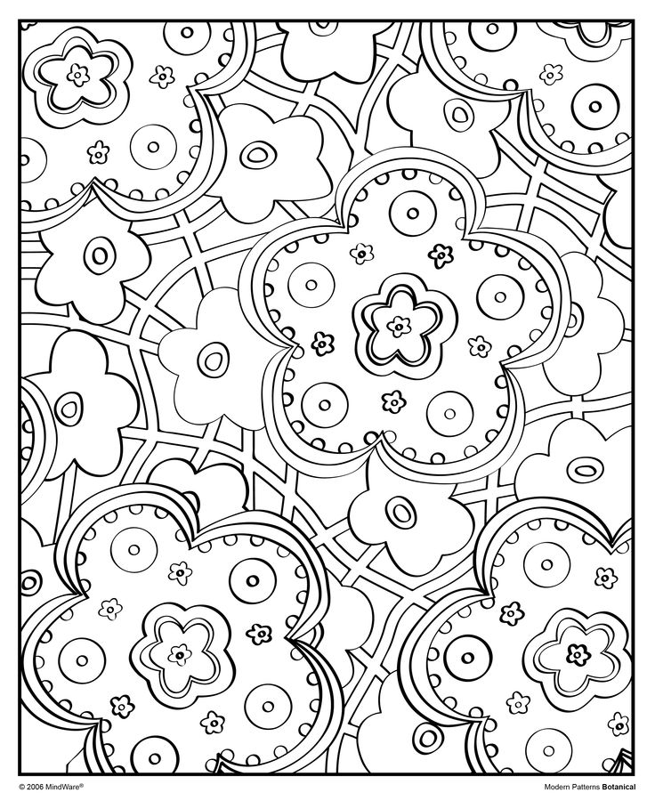 Grab your markers or colored pencils and decorate this groovy image from the modern patterns botanical coloring book