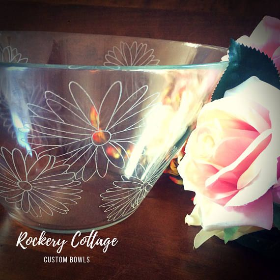 Large glass bowl personalised glass engraving hand engraved salad bowl serving bowl bespoke design family name wedding gift couple by RockeryCottage