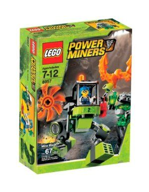 LEGO Power Miners Mine Mech (8957) by LEGO. $41.25. Features spinning saw blade, claw arm, moveable legs to walk or pose model and opening cockpit. Includes miner, rock monster and accessories. Rock Monster head opens. Combine with No.8956 Stone Chopper to build the Cave Cutter. Contains 67 pieces. From the Manufacturer                The one-of-a-kind Mine Mech is an experimental mining walker built to go where the other Power Miners vehicles can't. The enhanced m...