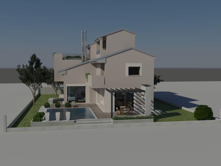 Vista da est del modello 3d, in primo piano la piscina e la pergola per il pranzo all'aperto -  Massimo Rinaldo architetto