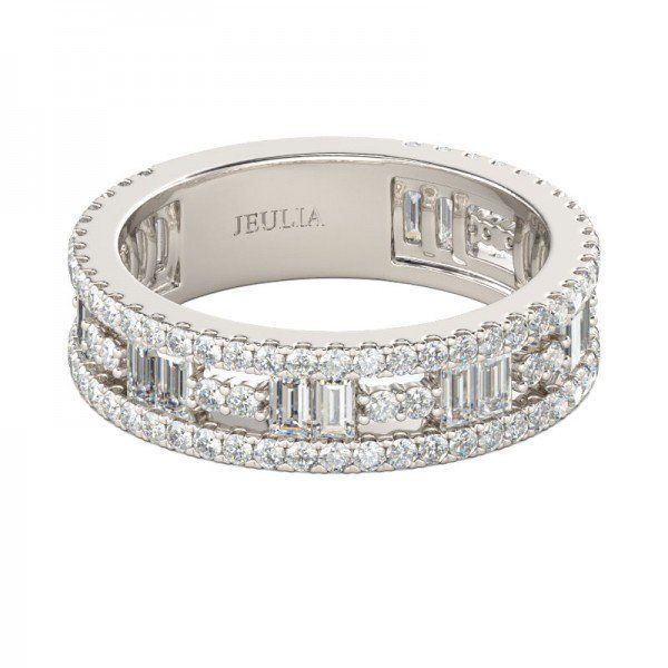 Emerald Cut Created White Sapphire Women's Wedding Band #Bands #Coupons #Wedding #Jeulia