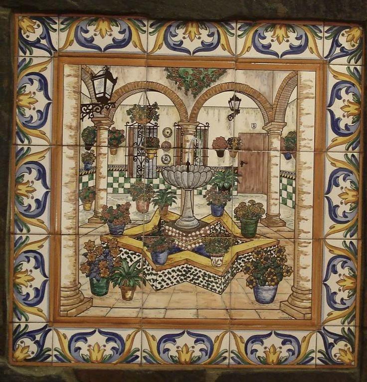 Mosaico de patio andaluz en co n escenas azulejos cer micos pinterest - Azulejos patio andaluz ...