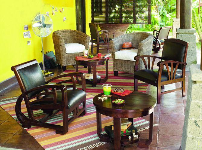 salon elle d coration salon pinterest deco exotique salon deco et colonial. Black Bedroom Furniture Sets. Home Design Ideas