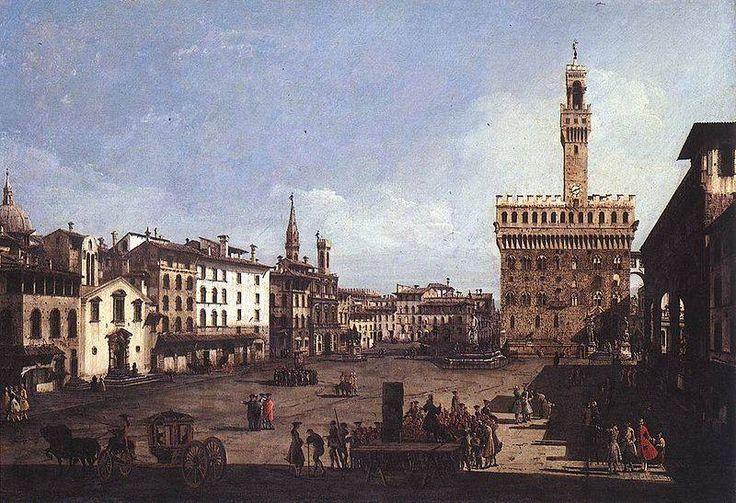 Bernardo Bellotto, Piazza della Signoria a Firenze, Museo di Belle Arti di Budapest