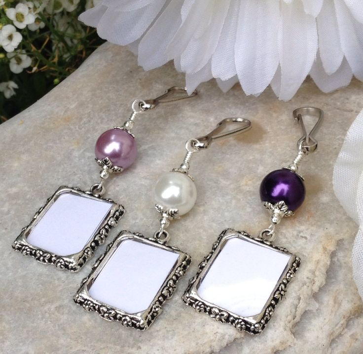 Bridal bouquet photo charm. Wedding memorial photo charm with purple or white pearl. (8.99 USD) by SmilingBlueDog