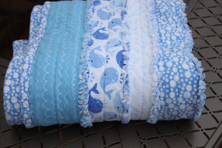 Baby / Toddler Flannel Strip Rag Quilt, Michael Miller and Riley Blake Flannel, 41 x 48, Baby Boy Whales, Nautical, Water,  Blue and White by SnugAsABugBlankies on Etsy