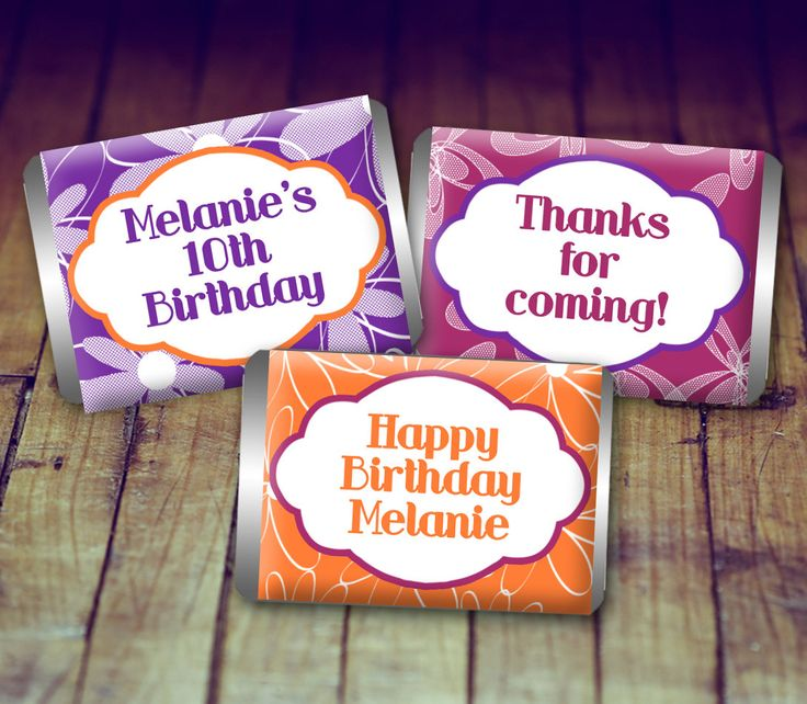 Candy Wrappers Birthday - Birthday Girl, Birthday Candy Wrappers, Birthday Party Favors, Birthday Printable, Orange and Purple Birthday by LittlePrintsOttawa on Etsy