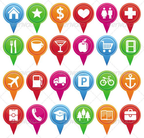 24 vector markers for maps and plans  #GraphicRiver         24 vector bright markers for maps and plans with navigational icons. EPS and AI files.   Icons: house, star, bank, heart, water closet, hospital, restaurant, coffee house, bar, market, shop, cinema, airport, gas station, car, parking, bicycle, port, stadium, phone, university, park, library, book store, office.     Created: 24October12 GraphicsFilesIncluded: VectorEPS #AIIllustrator HighResolution: Yes Layered: No…