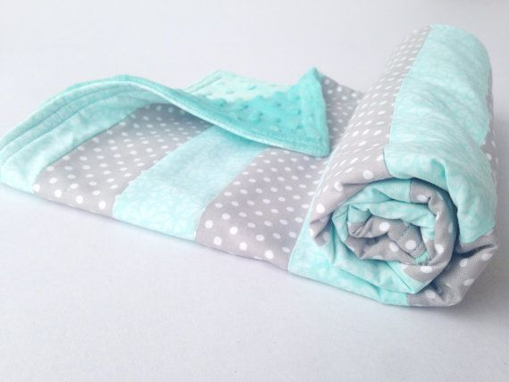 Toddler Security Blanket, Baby Quilt, Teal Minky Blue, Charcoal Gray, Turquoise, Car Seat Cover Canopy, Nursery Crib Bedding, Shower Gift | by Missy Prissy Shop, $27.00