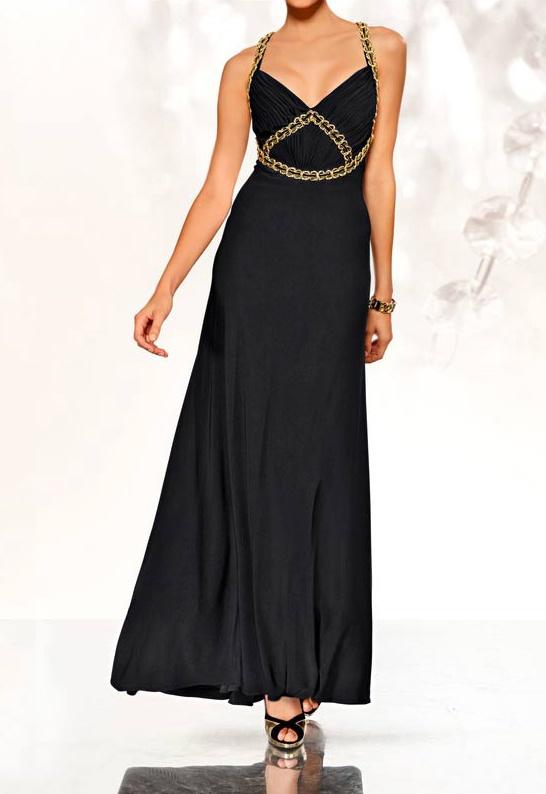 robe femme de soiree cocktail noir longue avec chaine or With robe de cocktail combiné avec chaine swarovski femme