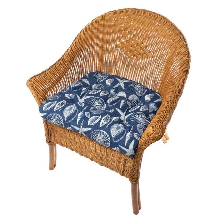 Shoreline I O Navy Blue Patio Cushions Dining Chair Pads