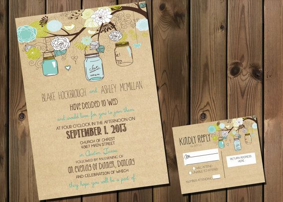 This listing is for a 5x7 personalized image of the wedding invitation (digital file only) The package also includes customized 4x5 RSVP Postcard