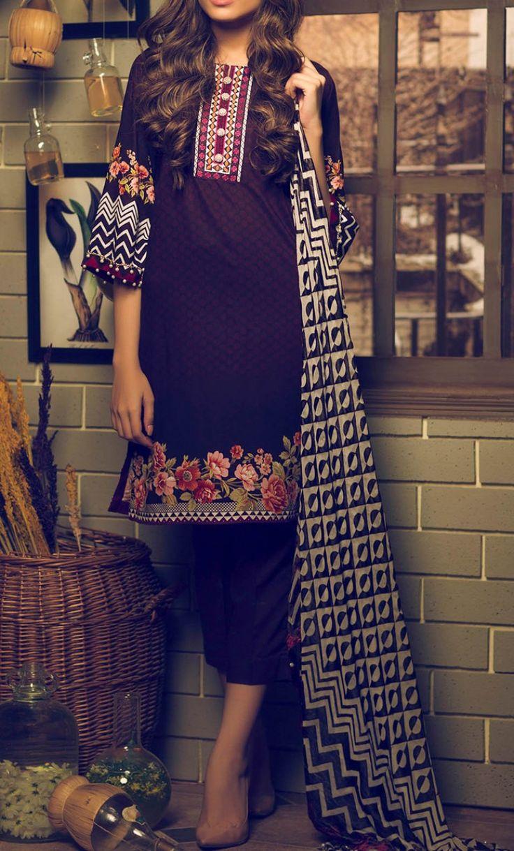Dark Purple Embroidered Viscose Dress Contact: (702) 751-3523  Email: info@pakrobe.com  Skype: PakRobe