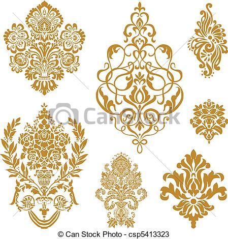 vettore, oro, damasco, Ornamento, set - csp5413323