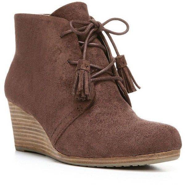Dr. Scholl's Dakota Women's Wedge Ankle Boots ($70) ❤ liked on Polyvore featuring shoes, boots, ankle booties, brown, wedge boots, wedge ankle booties, brown booties, lace up wedge booties and short brown boots