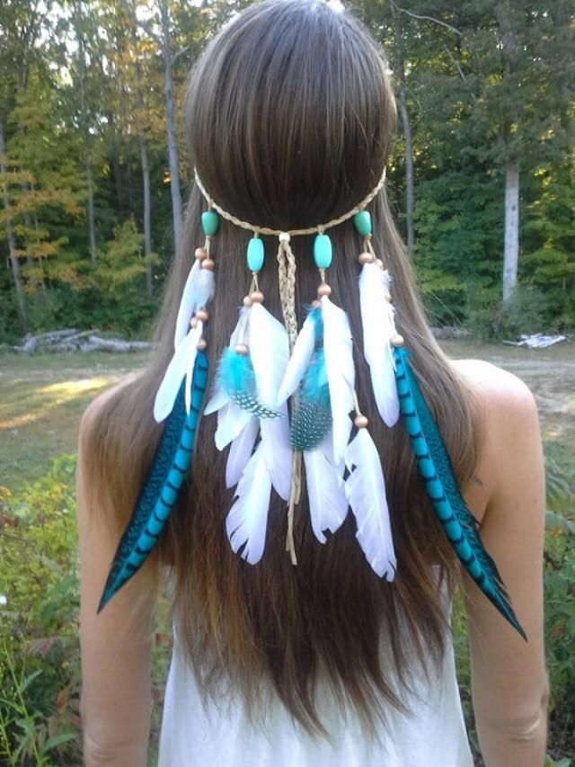 Native Inspired Free Spirited  Turquoise Princess Feather Headband    Elegant Turquoise and White Feathers Drape Down From Brown Woven Suede