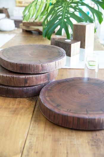 Hendrix & Harlow Round Timber Cheeseboards $120 - Made from our hardwood log stumps, each beautiful round cheeseboard has been sanded smoothly and oiled with our special Food Grade Mineral Oil, which rejuvenates the natural wood plus prevents drying and cracking. These versatile boards can also be used as chopping board, or purely for serving your favourite antipasto dish. #hendrixandharlow #cheeseboard #natural