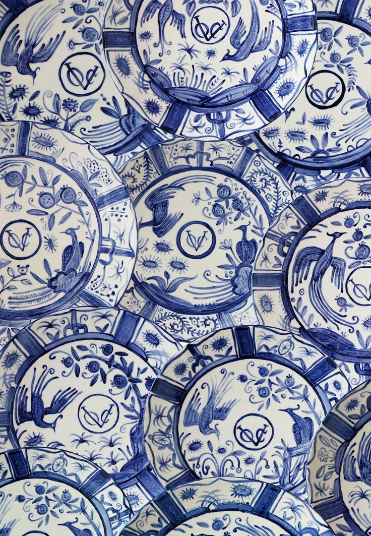 Kraak/Aritaware Repeat Pattern. Made up from different large ceramic chargers which I painted by hand.