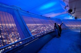 The CN Tower Outdoor Observation deck at night