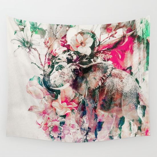 Watercolor+Elephant+and+Flowers+Wall+Tapestry+by+RIZA+PEKER+-+$39.00