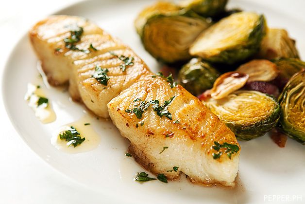 Pan-Seared Chilean Sea Bass - tip soaking fish in milk, for 2 inch fish fry 2 - 3 min on each side