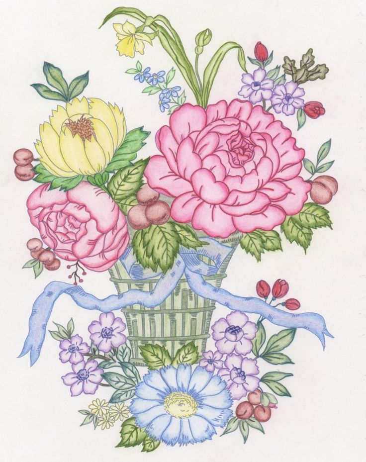 melissa smith nixon 18 division from floral bouquets coloring book http - Html Color Sheet