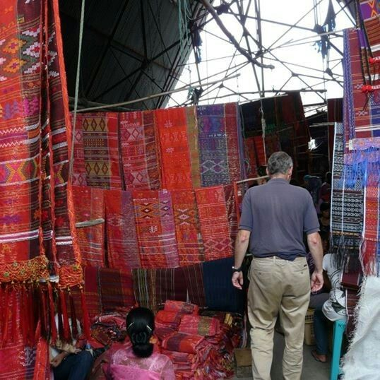 Ulos Market in Balige, North Sumatera, Indonesia. Ulos is a traditional weaving of Batak tribe....