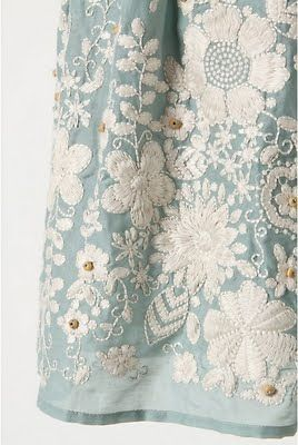 duck egg blue embroidered