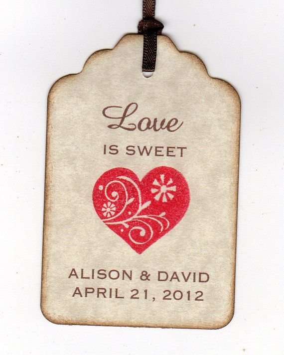Personalized Wedding Tags / Favor Tags / Gift Tags / Shower Tags / Labels / Hang Tags - Heart Love Is Sweet Vintage