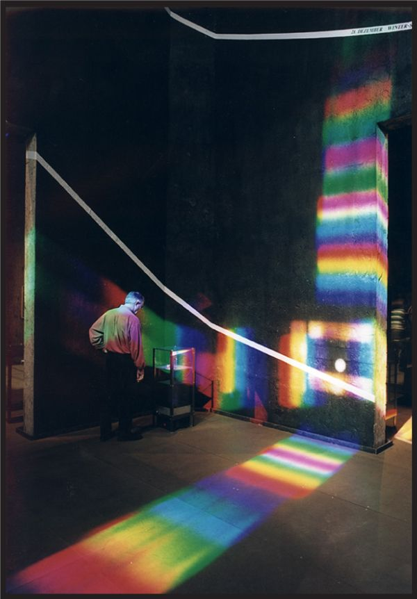 The work of Peter Erskine! In the early 90s on he created solar spectrum art, by using prisms, mirrors, and the color spectrum to create these stunning colored light installations all over the world