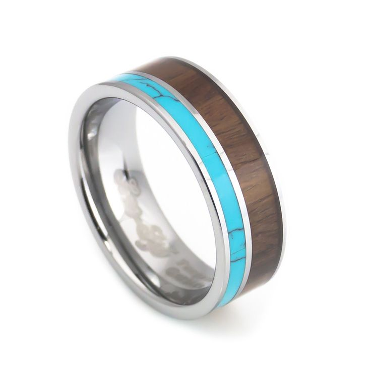 Free shipping on this unique Wedding Band design for a comfort fit. This wedding ring set has a Hawaiian koa wood inlay with a beautiful blue Indian turquoise combination, polished finish on the edges