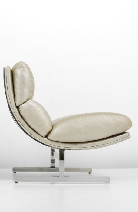 Kipp Stewart, Chromed Steel and Leather Lounge Chair for Directional, c1970.