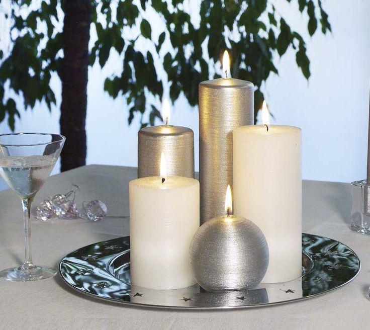 Velas metalizadas Craft y bola 60mm color plata con velas rústicas color blanco