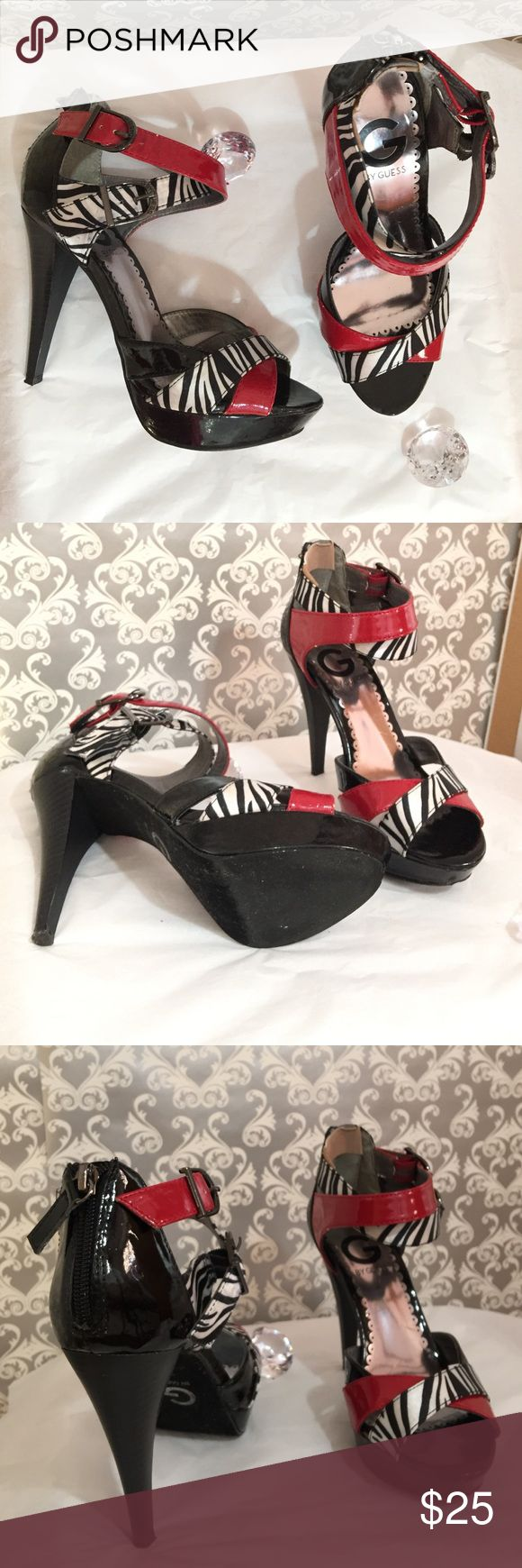 Guess zebra print ankle strap heels Lightly worn adjustable straps heel size 4 inches in length platform size 1 inch in length G by Guess Shoes Heels
