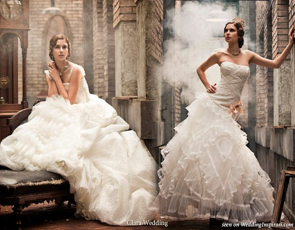 """These lovely images are from themed photo shoots by Korean-based Clara Wedding. Above: romantic wedding dresses from the collection """"A Famous Picture""""."""