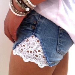 "I just saw a girls shorts with a lace patch on top of the denim at the sides like this and sai ""I should do that to some of my shorts."" This is even better since it can Restyle your shorts that became to small. (in Dutch, but English version is also available)"