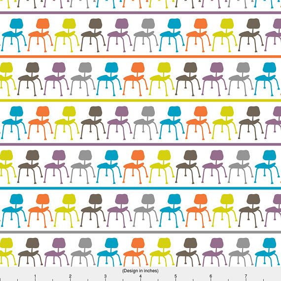 1 yard (or 1 fat quarter) of Retro Chairs - stripe by designer andibird. Printed on Organic Cotton Knit, Linen Cotton Canvas, Organic Cotton Sateen, Kona Cotton, Basic Cotton Ultra, Cotton Poplin, Minky, Fleece, or Satin fabric.  Available in yards and quarter yards (fat quarter). This fabric is digitally printed on demand as orders are placed. Unlike conventional textile manufacturing, very little waste of fabric, ink, water or electricity is used. We print using eco-friendly, water-based…