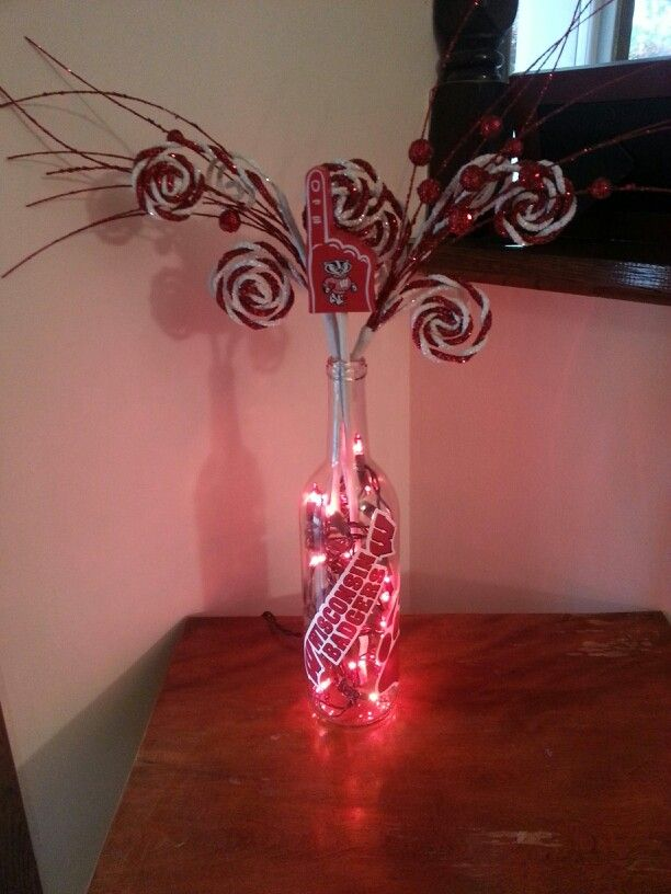 Wisconsin Badgers decorative wine bottle handmade by my amazing father @Jeff Sheldon Schleif