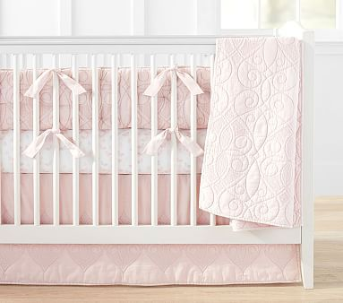 Organic Washed Cotton Bumper Set with Watercolor Butterfly Crib Fitted Sheet, Pink