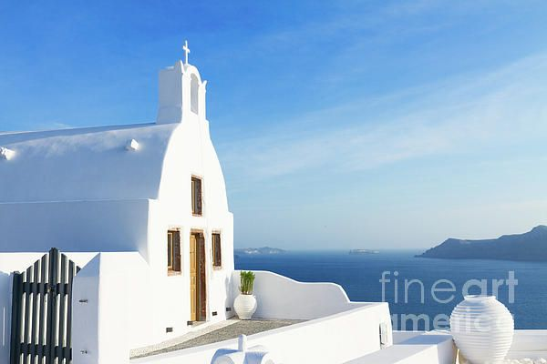 Beautiful details of #Santorini island - typical house with white walls and blue sea #Greece by Anastasy Yarmolovich #AnastasyYarmolovichFineArtPhotography