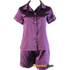 Dream the night away in these gorgeous Royal Purple satin pyjamas. Button up shirt. Made in a generous loose fitting style, from premium quality material by Phialli.