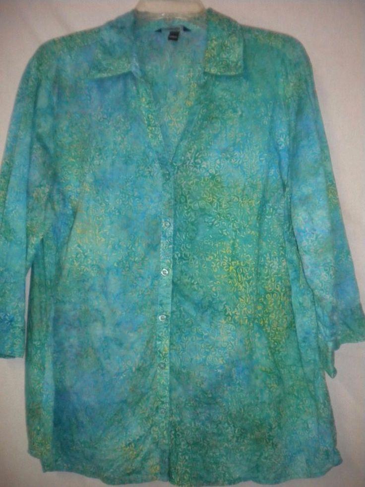 Krazy Kat Plus Size 1X Teal Yellow Watercolor 3/4 Sleeve Button Women Shirt Top #KrazyKat #ButtonDownShirt #Versatile