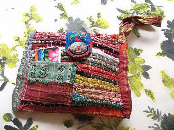 Handmade Purse Vintage Embroidery Tattered Silk by AllThingsPretty, $85.00