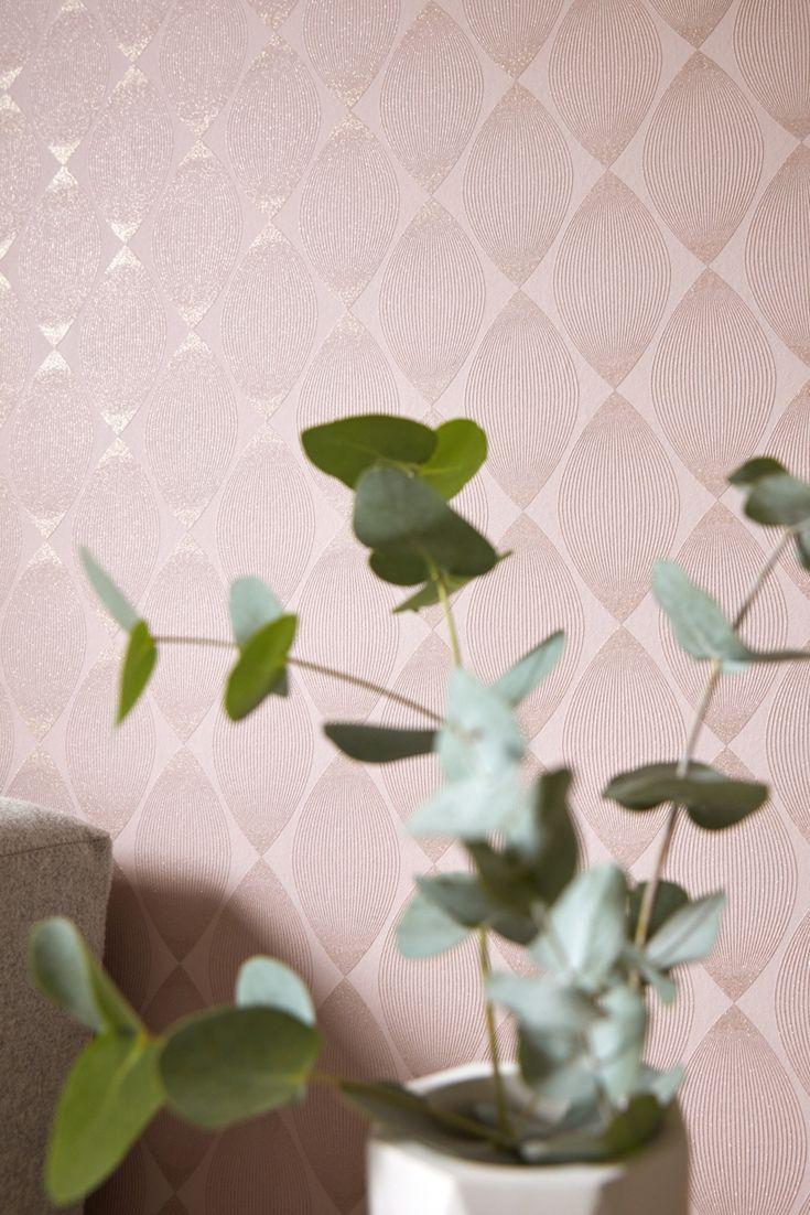 Tapete Evy Grafische Vliestapete Auf Zartem Rosa Mit Schimmerndem Effekt Schimmernd Glitzer Wandgestaltung Grafisch Rosa Tapete Tapeten Wandtapete