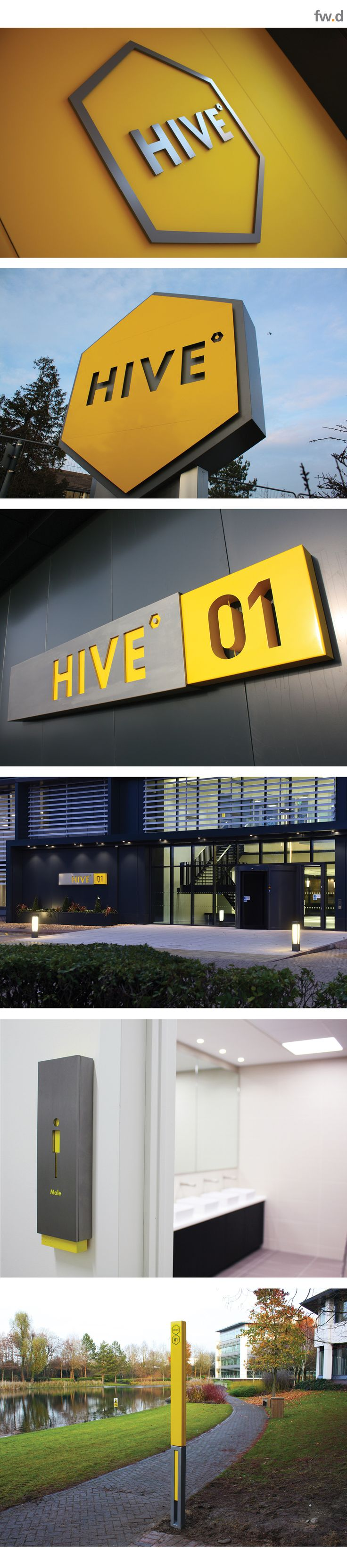 fwdesign developed a bespoke wayfinding and information system for The Hive, an exciting collaborative working environment, set amongst stunning lakes and landscaped grounds creating an inspirational and motivational working environment.