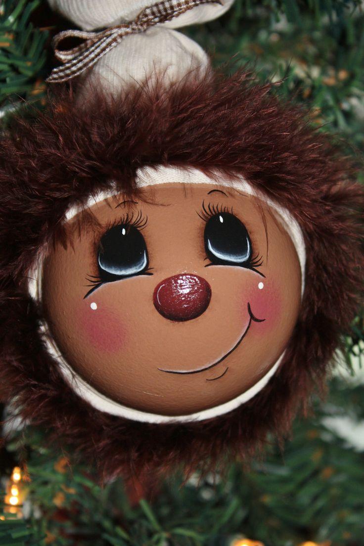 Light bulb ornaments - Ooak Hand Painted Gingerbread Large Light Bulb Ornament