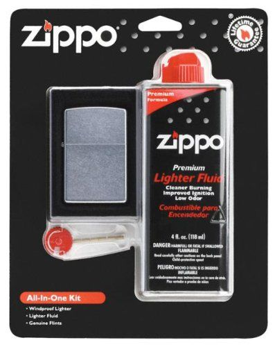 A #Zippo classic lighter in an elegant and refined matte Chrome finish classic size case. This lighter requires fluid fuel. The lighter is supplied unfueled for ...